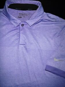 NIKE GOLF POLO SHIRT L PURPLE STRIPE DRI FIT POLY STRETCH PERFORMANCE $6.99