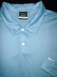 NIKE GOLF POLO SHIRT 3XL LIGHT BLUE SLATE DRI FIT SHINY PERFORMANCE POLY $16.50