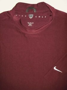 NIKE GOLF MOCK TURTLE POLO SHIRT XXL MAROON RED BLADE DRI FIT UV STRETCH SOFT $9.99