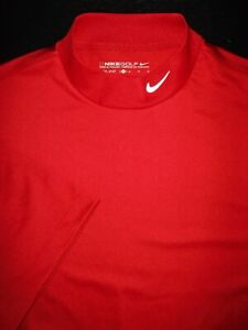 NIKE GOLF MOCK TURTLE POLO SHIRT M MAROON RED BLADE DRI FIT STRETCH POLY $24.50