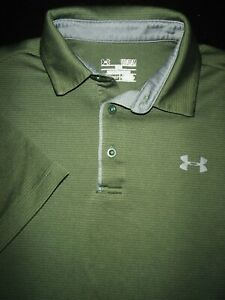 UNDER ARMOUR GOLF POLO SHIRT M ARMY GREEN GRAY SHINY STRETCH HEAT GEAR $10.99