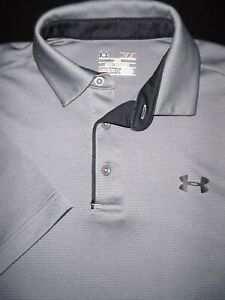 UNDER ARMOUR GOLF POLO SHIRT M SILVER GRAY BLACK SHINY STRETCH HEAT GEAR $10.99