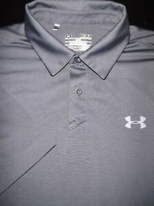 UNDER ARMOUR GOLF POLO SHIRT M SILVER GRAY STRIPE SHINY STRETCH HEAT GEAR $10.99