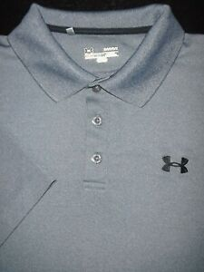 UNDER ARMOUR GOLF POLO SHIRT L SILVER GRAY HEATHER SHINY STRETCH HEAT GEAR $10.99