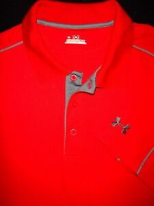 UNDER ARMOUR GOLF POLO SHIRT XL RED GRAY SHINY POLY SOFT STRETCH HEAT GEAR $10.99