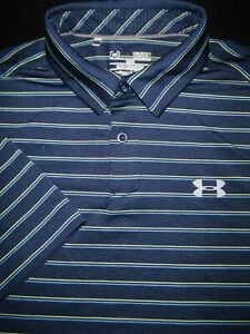 UNDER ARMOUR GOLF POLO SHIRT M BLUE YELLOW AQUA STRIPE POLY STRETCH HEAT GEAR $9.99