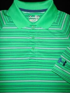 UNDER ARMOUR GOLF POLO SHIRT S GREEN BLUE WHITE STRIPE POLY STRETCH HEAT GEAR $6.99