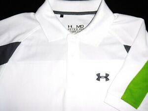 UNDER ARMOUR GOLF POLO SHIRT M WHITE GREEN GRAY STRIPE POLY STRETCH HEAT GEAR $10.99