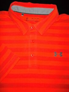 UNDER ARMOUR GOLF POLO SHIRT XXL SALMON SOFT COMBED POLY STRETCH HEAT GEAR $10.99