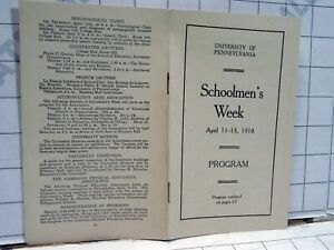 antique 1918 booklet University of Pennsylvania college PENN SCHOOLMENS WEEK $15.00