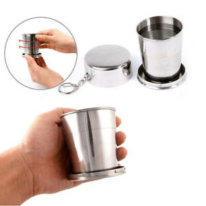 Folding Outdoor Camping Telescopic Portable Collapsible Cups Stainless Steel