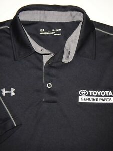 UNDER ARMOUR GOLF POLO SHIRT XL BLACK GRAY WHITE POLY HEAT GEAR TOYOTA PARTS $11.99