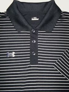 UNDER ARMOUR GOLF POLO SHIRT L BLACK WHITE GRAY STRIPE POLY STRETCH HEAT GEAR $10.99