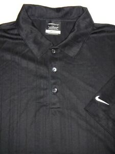 NIKE GOLF POLO SHIRT L BLACK WEAVE STRIPE SHINY DRI FIT POLYESTER PERFORMANCE $4.99