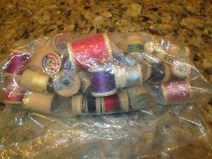 COLLECTION OF 40 WOODEN SEWING SPOOLS reduced $12.00