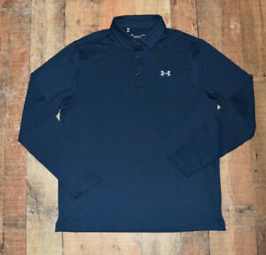 Mens Under Armour Performance Playoff Long Sleeve Golf Polo Blue Size Large EUC $19.99