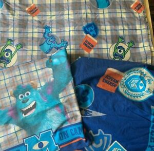 3pc MONSTERS UNIVERSITY Twin Bed Sheet Set Mike Sully Scare U Pennant Scream