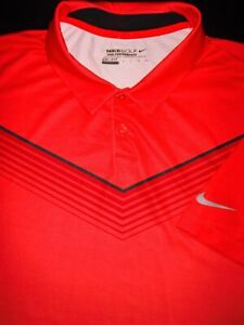 NIKE GOLF POLO SHIRT XXL RED BLACK WHITE STRIPE DRI FIT STRETCH PERFORMANCE $10.99