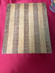 Striped Wooden Cutting Board/Chopping Block With Knife Holder. 9x11x3