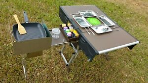 Outdoor mobile folding Camping kitchen Aluminum alloy table size:94x54x63cm