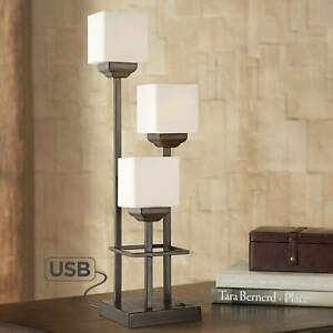 Light Tree 3 Light Bronze Console Table Lamp with USB