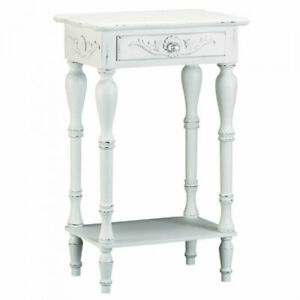 Carved White Side Table with Antique Look
