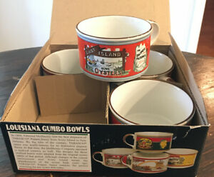 TABASCO Gumbo Bowls Two Handles set of 4 Louisiana Oyster Chili Stew