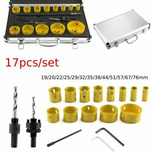 17pcs Diamond Hole Saw Drill Bit Set Glass Ceramic Tile Saw Cutting Tool 19-76mm