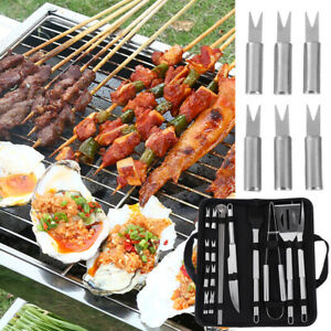 Skewers Grill Cooking Kit BBQ Tool Set Utensil Accessories Stainless Steel