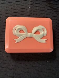 Vintage Salmon Pink Plastic Vanity Dresser Trinket Box with Bow