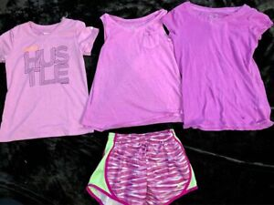 Nike Dri Fit Shorts Reebok Justice T shirts Girls size 10 athletic clothes lot $26.00
