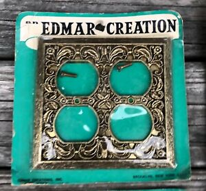 (1) One Vintage Edmar Creation Ornate Double Outlet Cover Plate New Old StockNOS