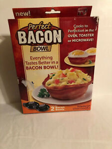 Perfect Bacon Bowl 2 Pc As Seen On TV Kitchen KETO Cooker Microwave Oven Cook