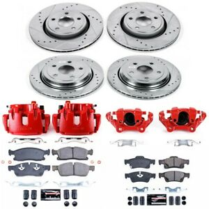 KC6537 Powerstop 4-Wheel Set Brake Disc and Caliper Kits Front & Rear for Jeep