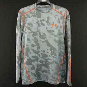 Men Under Armour Coldgear Fitted Gray Camo Camouflage Shirt Size Medium Pullover $32.99