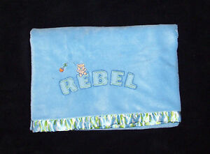 Just Boys REBEL Camo Baby Blanket Green Blue Bear Camouflage Satin Security