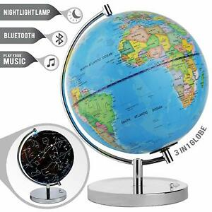 LED Light Up WORLD GLOBE Map with BLUETOOTH SPEAKER For Kids Gift