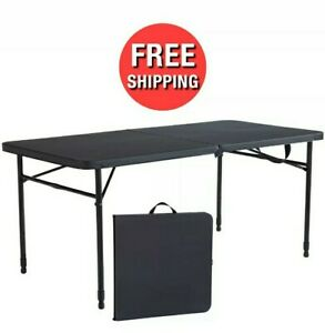 48-inch Folding 4-Seat Table Adjustable Height Fold-in-Half Storage Carry Handle