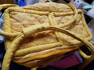 Yellow Quilted  Picnic Basket with sections and carrying handles