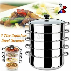 4/5-Tier 32CM Stainless Steel Steamer Cooker Meat Vegetable Cooking Steam Pot-US
