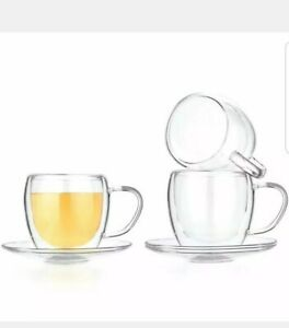 Tealyra 8-ounce Set of 4 Double Wall Glasses With Handle Clear Cups Coffee Tea