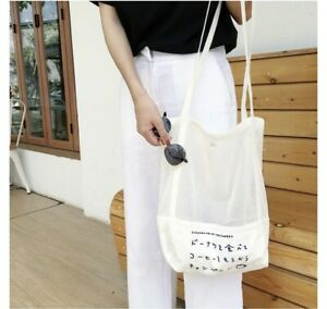 Mesh Tote Bag Japanese White Printed Letter Shopping Canvas Grocery Bag Reusable