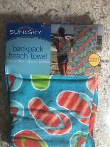NEW Blue Orange Flip-Flops Backpack Beach Pool Towel 28 x 58