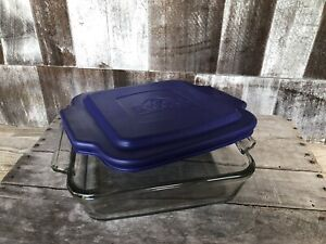Anchor Hocking Ovenware Clear Glass Square 8x8 Brownie Baking Dish amp; Blue Cover