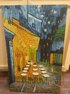 Large Original Signed Canvas Oil Painting 21x33 French Impressionist Bistro Cafe $202.50