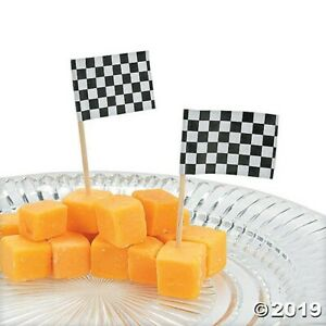 144 Race Car Cupcake Food Picks Checkered Racing Flags BIRTHDAY Party