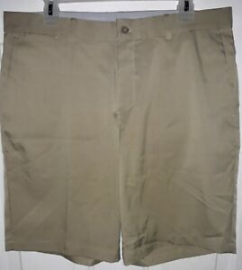 Nike Golf Standard Fit Dri Fit Khaki Shorts Mens 34 10.5 Tan Flat Front $20.50