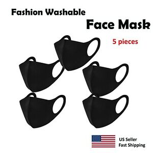 5 pack Black Face Mask , Washable, Reusable, Unisex, Free Same Day Shipping