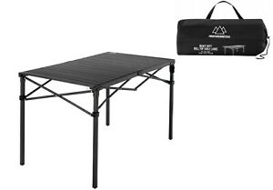Portable Camping Heavy Duty Roll Top Black Table Large Easy Carry Bag Included