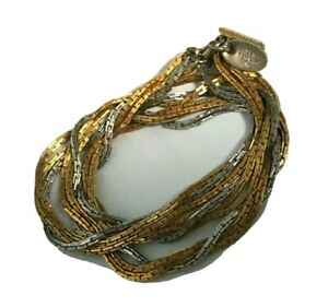 Vintage Les Bernard Signed Mixed Metal Silver Gold Choker Chain Necklace 16quot; $15.00